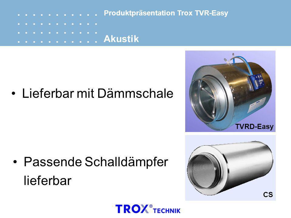 Lieferbar mit Dämmschale Passende Schalldämpfer lieferbar TVRD-Easy CS Akustik Produktpräsentation Trox TVR-Easy