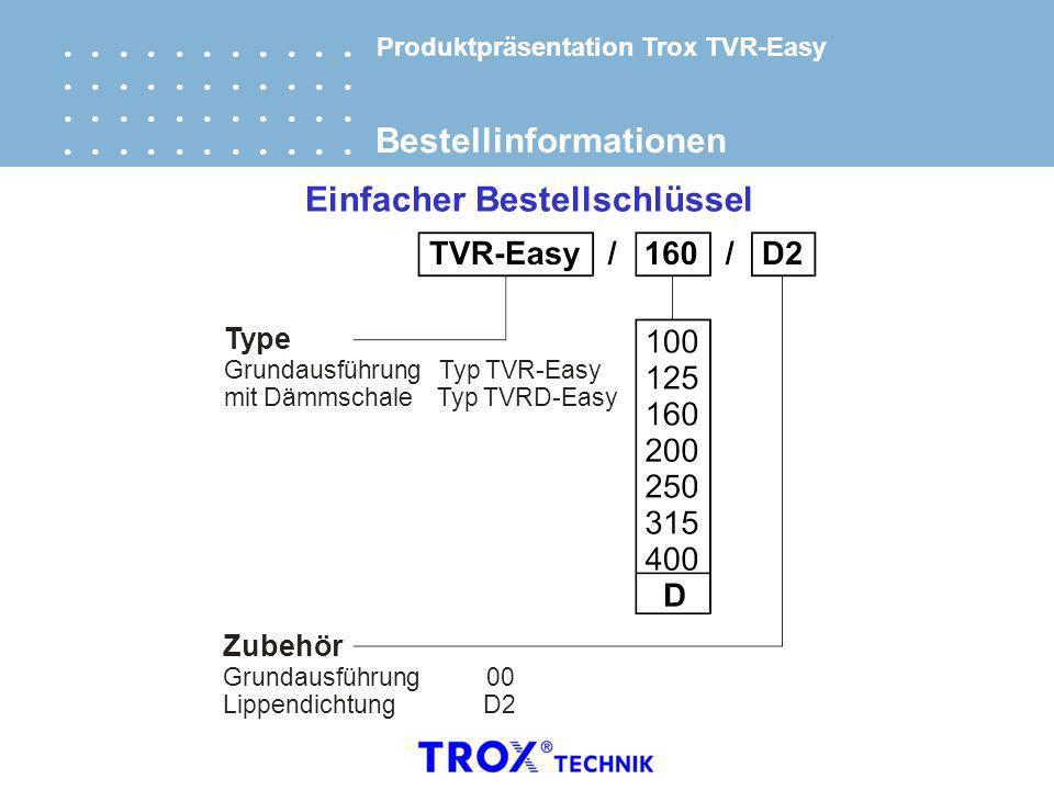 Bestellinformationen Einfacher Bestellschlüssel Type mit Dämmschale Typ TVRD-Easy Grundausführung Typ TVR-Easy Zubehör Grundausführung 00 Lippendichtu