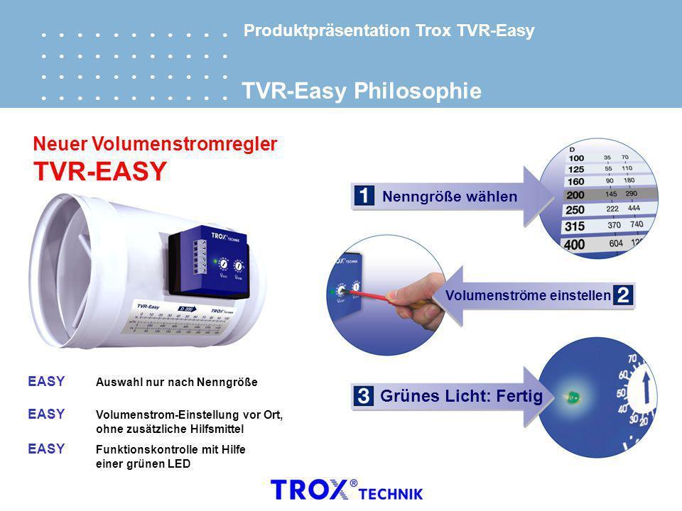 Nenngröße wählen Volumenströme einstellen Grünes Licht: Fertig EASY Auswahl nur nach Nenngröße EASY Volumenstrom-Einstellung vor Ort,ohne zusätzliche