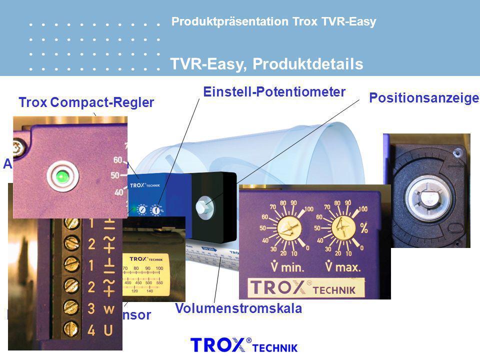 Funktionskontrolle AnschlussklemmenTrox Compact-Regler Positionsanzeige Stellklappe Differenzdruck-Sensor Volumenstromskala Einstell-Potentiometer TVR