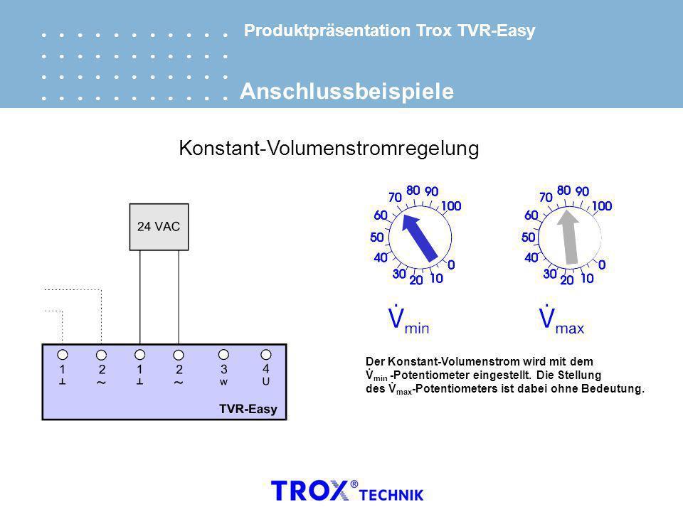 Produktpräsentation Trox TVR-Easy Anschlussbeispiele Konstant-Volumenstromregelung Der Konstant-Volumenstrom wird mit dem V min -Potentiometer eingest
