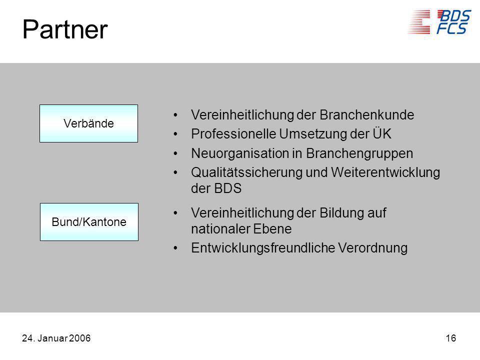 24. Januar 200616 Partner Vereinheitlichung der Branchenkunde Professionelle Umsetzung der ÜK Neuorganisation in Branchengruppen Qualitätssicherung un