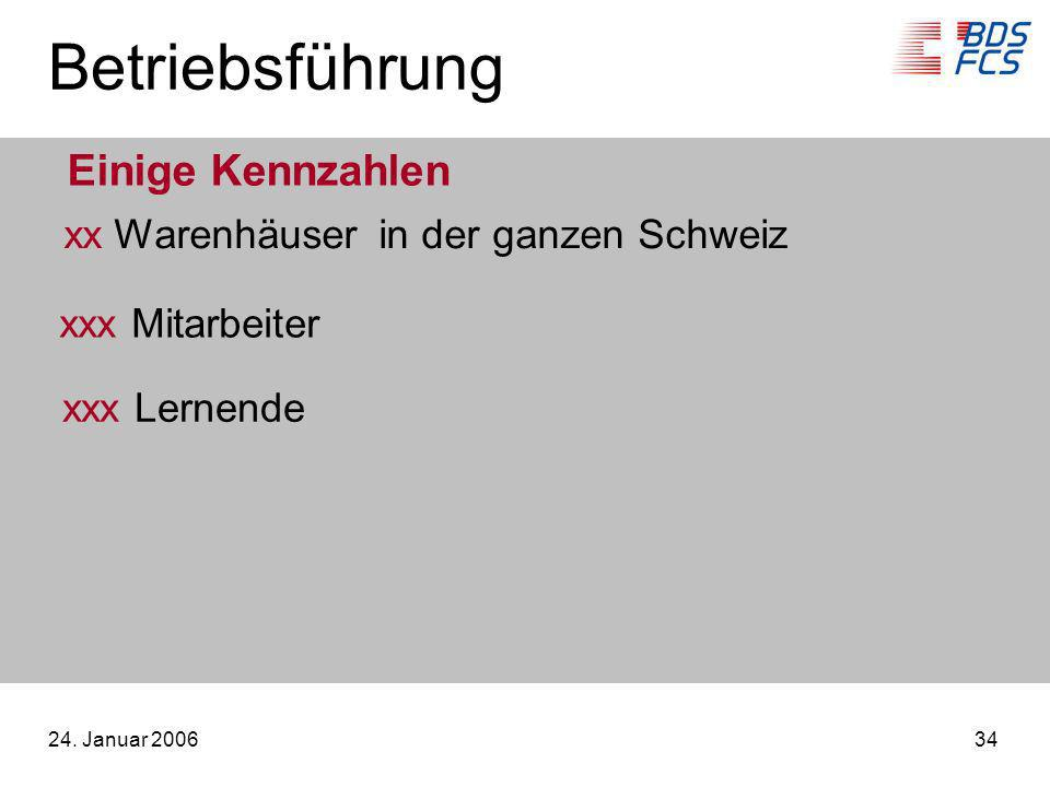 24. Januar 200634 Betriebsführung Einige Kennzahlen xx Warenhäuserin der ganzen Schweiz xxx Mitarbeiter xxx Lernende
