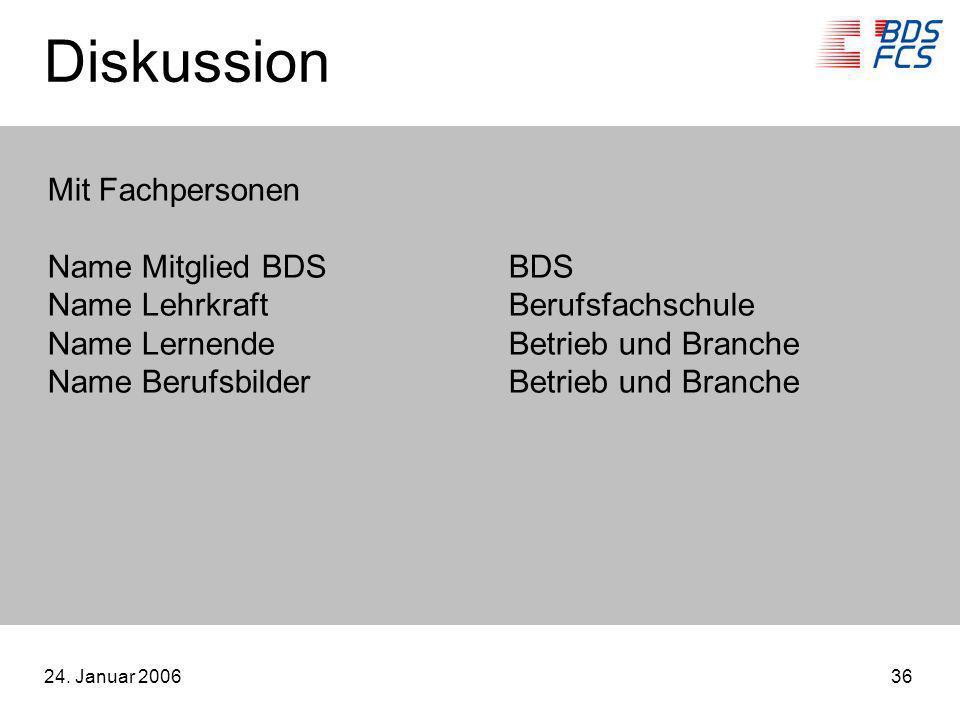 24. Januar 200636 Diskussion Mit Fachpersonen Name Mitglied BDSBDS Name LehrkraftBerufsfachschule Name LernendeBetrieb und Branche Name BerufsbilderBe