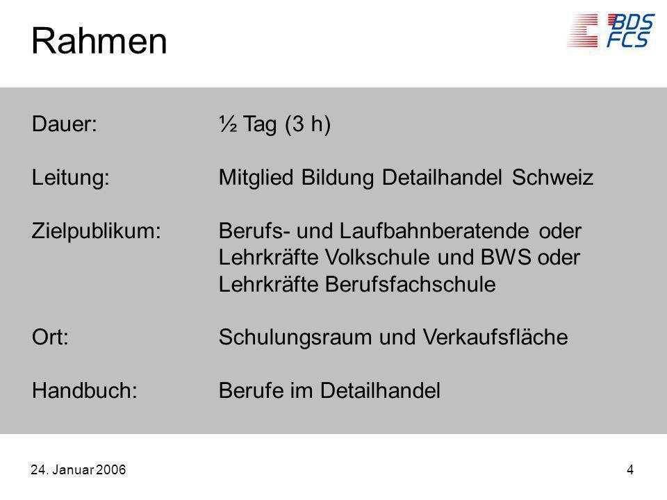 24. Januar 20064 Rahmen Dauer:½ Tag (3 h) Leitung:Mitglied Bildung Detailhandel Schweiz Zielpublikum:Berufs- und Laufbahnberatende oder Lehrkräfte Vol