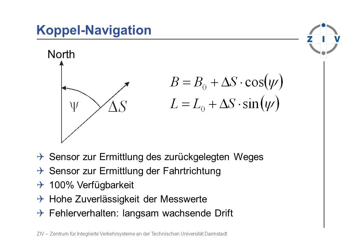 ZIV – Zentrum für Integrierte Verkehrsysteme an der Technischen Universität Darmstadt Koppel-Navigation North Sensor zur Ermittlung des zurückgelegten Weges Sensor zur Ermittlung der Fahrtrichtung 100% Verfügbarkeit Hohe Zuverlässigkeit der Messwerte Fehlerverhalten: langsam wachsende Drift