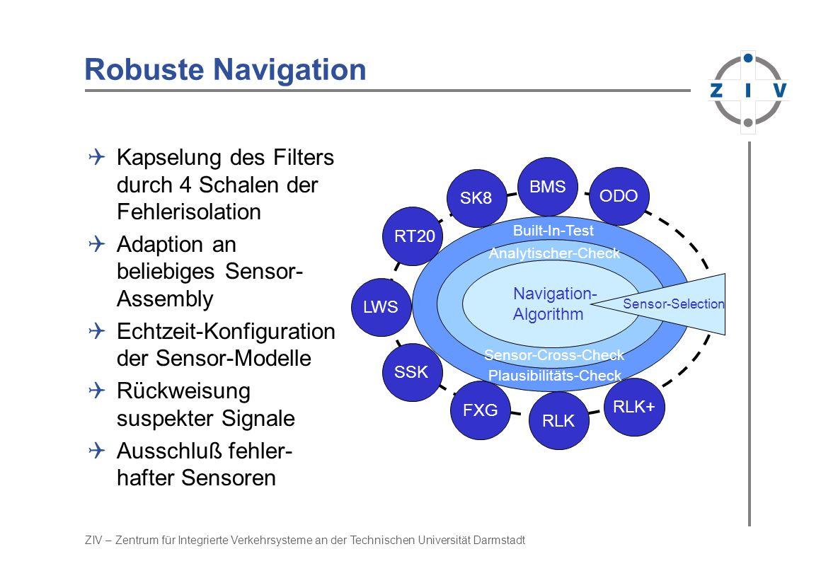 ZIV – Zentrum für Integrierte Verkehrsysteme an der Technischen Universität Darmstadt Robuste Navigation Kapselung des Filters durch 4 Schalen der Feh