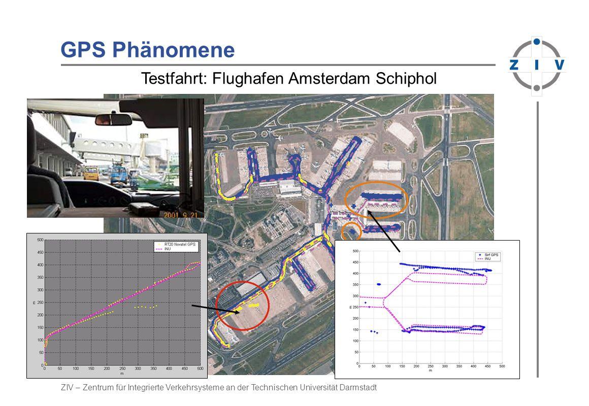 ZIV – Zentrum für Integrierte Verkehrsysteme an der Technischen Universität Darmstadt GPS Phänomene Hi-End GPS (Novatel) Low-Cost GPS (Sirf) Testfahrt: Flughafen Amsterdam Schiphol