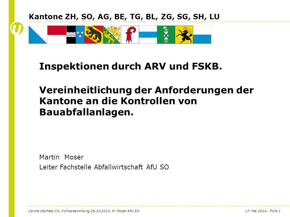 17. Mai 2014 Folie 1 Inspektionen durch ARV und FSKB.