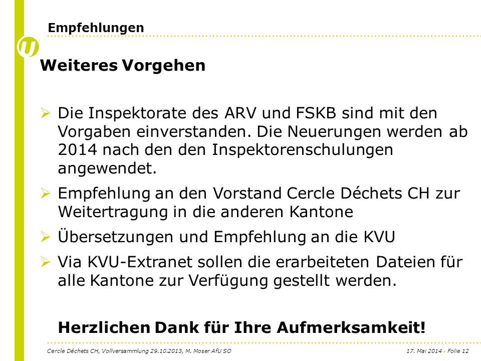 17. Mai 2014 Folie 12 Weiteres Vorgehen Die Inspektorate des ARV und FSKB sind mit den Vorgaben einverstanden. Die Neuerungen werden ab 2014 nach den