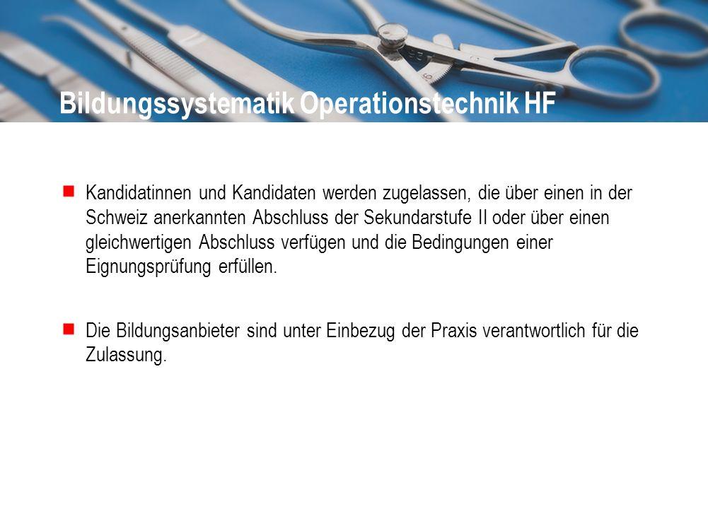 Bildungssystematik Operationstechnik HF Kandidatinnen und Kandidaten werden zugelassen, die über einen in der Schweiz anerkannten Abschluss der Sekund