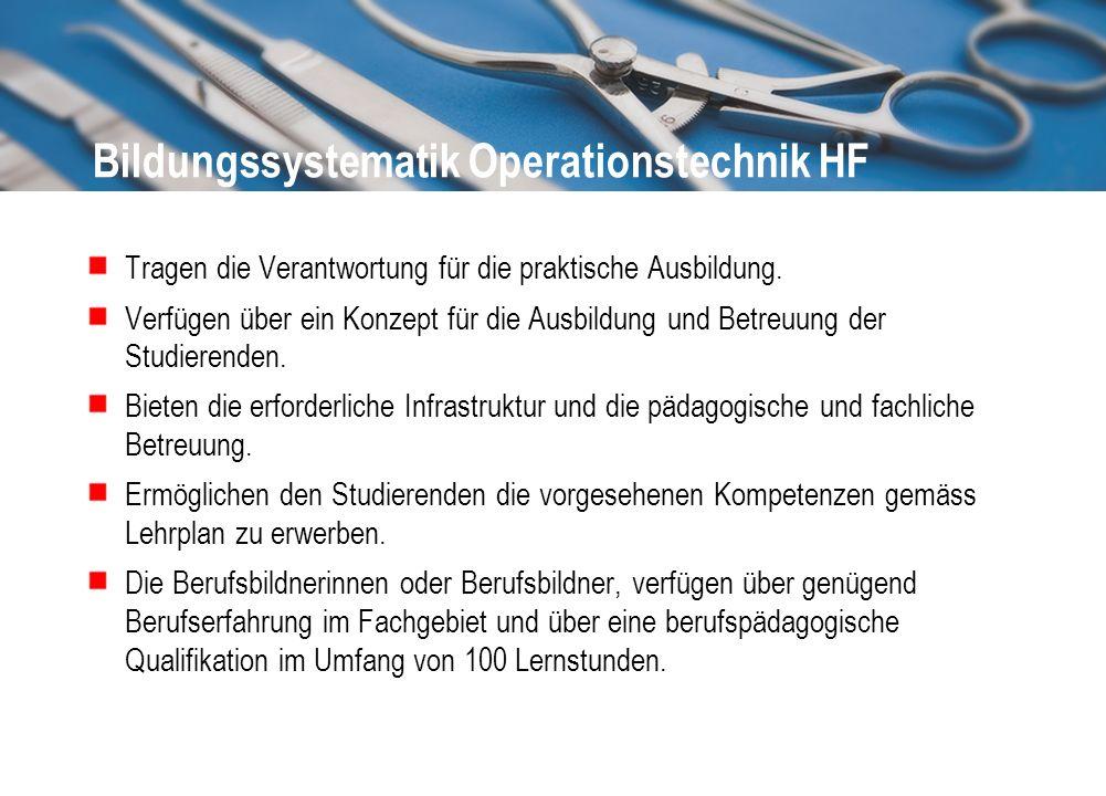 Bildungssystematik Operationstechnik HF Tragen die Verantwortung für die praktische Ausbildung. Verfügen über ein Konzept für die Ausbildung und Betre
