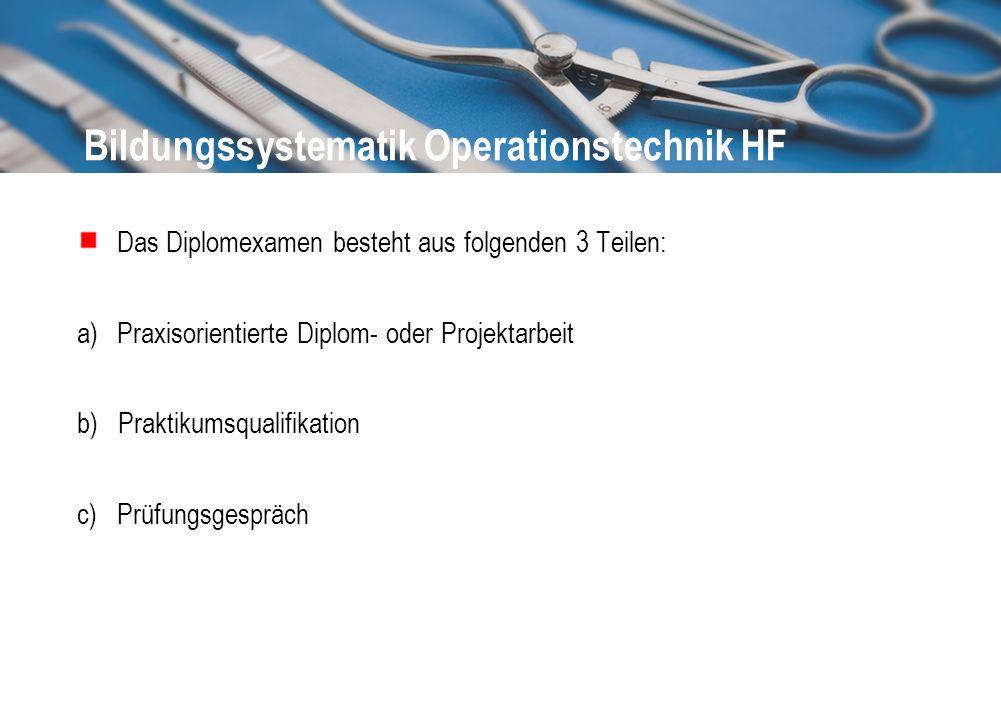 Bildungssystematik Operationstechnik HF Das Diplomexamen besteht aus folgenden 3 Teilen: a)Praxisorientierte Diplom- oder Projektarbeit b) Praktikumsq