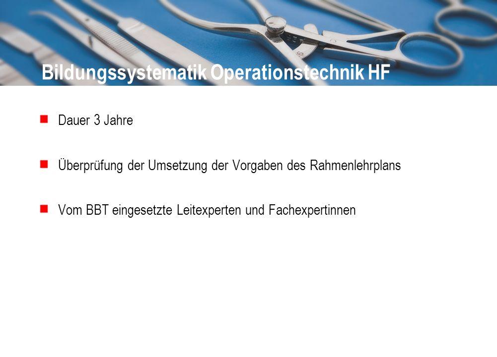 Bildungssystematik Operationstechnik HF Dauer 3 Jahre Überprüfung der Umsetzung der Vorgaben des Rahmenlehrplans Vom BBT eingesetzte Leitexperten und