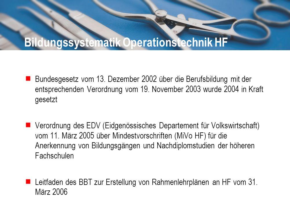 Bildungssystematik Operationstechnik HF Bundesgesetz vom 13. Dezember 2002 über die Berufsbildung mit der entsprechenden Verordnung vom 19. November 2