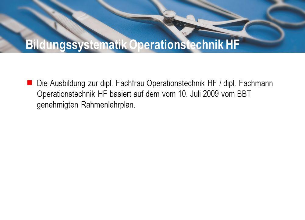Bildungssystematik Operationstechnik HF Die Ausbildung zur dipl. Fachfrau Operationstechnik HF / dipl. Fachmann Operationstechnik HF basiert auf dem v