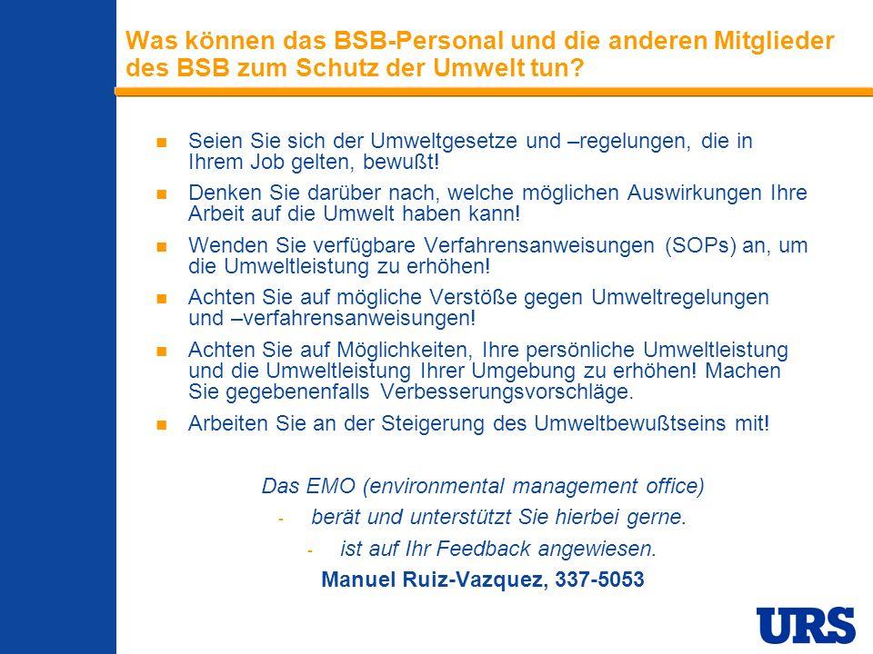 Employee Presentation 3-00 - p 11 Was können das BSB-Personal und die anderen Mitglieder des BSB zum Schutz der Umwelt tun.