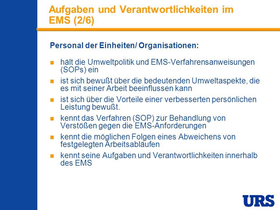Employee Presentation 3-00 - p 13 Aufgaben und Verantwortlichkeiten im EMS (2/6) Personal der Einheiten/ Organisationen: hält die Umweltpolitik und EMS-Verfahrensanweisungen (SOPs) ein ist sich bewußt über die bedeutenden Umweltaspekte, die es mit seiner Arbeit beeinflussen kann ist sich über die Vorteile einer verbesserten persönlichen Leistung bewußt.
