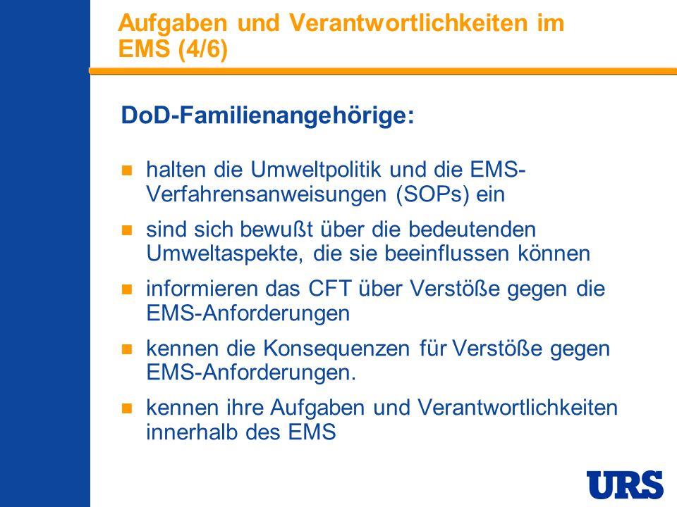 Employee Presentation 3-00 - p 15 Aufgaben und Verantwortlichkeiten im EMS (4/6) DoD-Familienangehörige: halten die Umweltpolitik und die EMS- Verfahrensanweisungen (SOPs) ein sind sich bewußt über die bedeutenden Umweltaspekte, die sie beeinflussen können informieren das CFT über Verstöße gegen die EMS-Anforderungen kennen die Konsequenzen für Verstöße gegen EMS-Anforderungen.