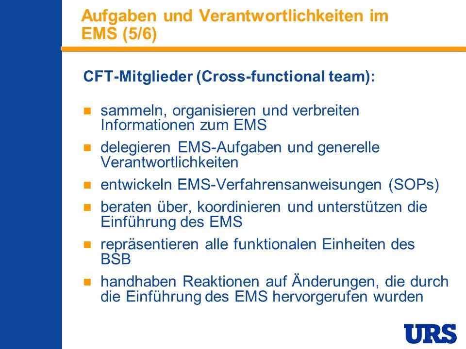 Employee Presentation 3-00 - p 16 Aufgaben und Verantwortlichkeiten im EMS (5/6) CFT-Mitglieder (Cross-functional team): sammeln, organisieren und verbreiten Informationen zum EMS delegieren EMS-Aufgaben und generelle Verantwortlichkeiten entwickeln EMS-Verfahrensanweisungen (SOPs) beraten über, koordinieren und unterstützen die Einführung des EMS repräsentieren alle funktionalen Einheiten des BSB handhaben Reaktionen auf Änderungen, die durch die Einführung des EMS hervorgerufen wurden