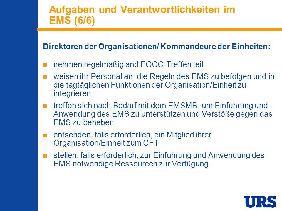 Employee Presentation 3-00 - p 17 Aufgaben und Verantwortlichkeiten im EMS (6/6) Direktoren der Organisationen/ Kommandeure der Einheiten: nehmen regelmäßig and EQCC-Treffen teil weisen ihr Personal an, die Regeln des EMS zu befolgen und in die tagtäglichen Funktionen der Organisation/Einheit zu integrieren.