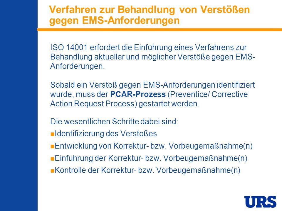 Employee Presentation 3-00 - p 18 Verfahren zur Behandlung von Verstößen gegen EMS-Anforderungen ISO 14001 erfordert die Einführung eines Verfahrens zur Behandlung aktueller und möglicher Verstöße gegen EMS- Anforderungen.