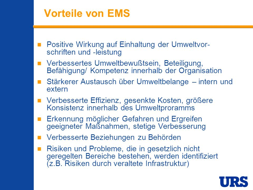 Employee Presentation 3-00 - p 5 Vorteile von EMS Positive Wirkung auf Einhaltung der Umweltvor- schriften und -leistung Verbessertes Umweltbewußtsein
