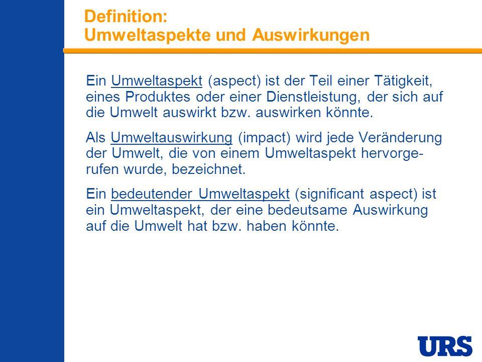 Employee Presentation 3-00 - p 8 Definition: Umweltaspekte und Auswirkungen Ein Umweltaspekt (aspect) ist der Teil einer Tätigkeit, eines Produktes oder einer Dienstleistung, der sich auf die Umwelt auswirkt bzw.