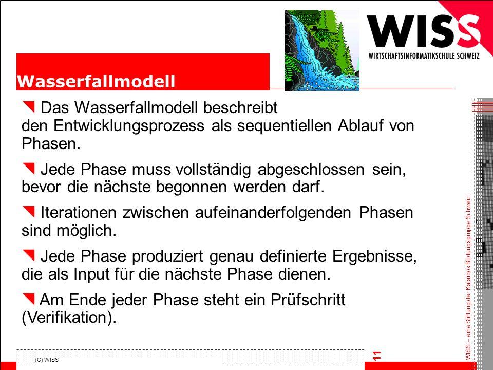 WISS – eine Stiftung der Kalaidos Bildungsgruppe Schweiz (C) WISS 11 Das Wasserfallmodell beschreibt den Entwicklungsprozess als sequentiellen Ablauf