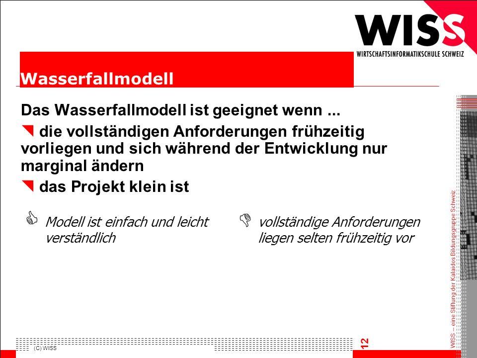 WISS – eine Stiftung der Kalaidos Bildungsgruppe Schweiz (C) WISS 12 Das Wasserfallmodell ist geeignet wenn... die vollständigen Anforderungen frühzei