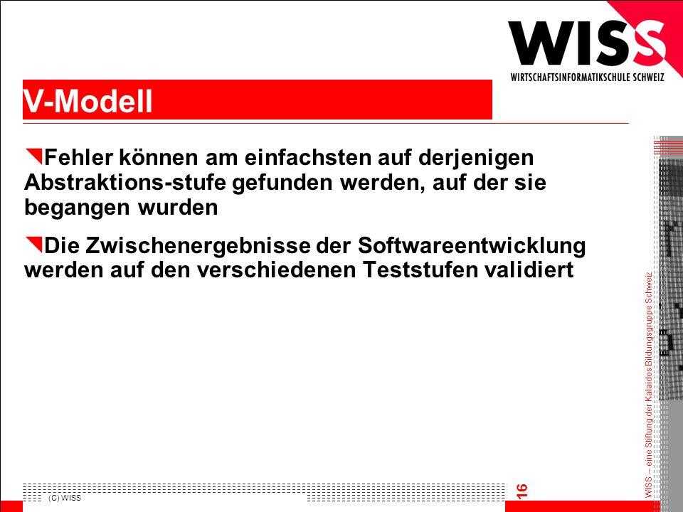 WISS – eine Stiftung der Kalaidos Bildungsgruppe Schweiz (C) WISS 16 Fehler können am einfachsten auf derjenigen Abstraktions-stufe gefunden werden, a