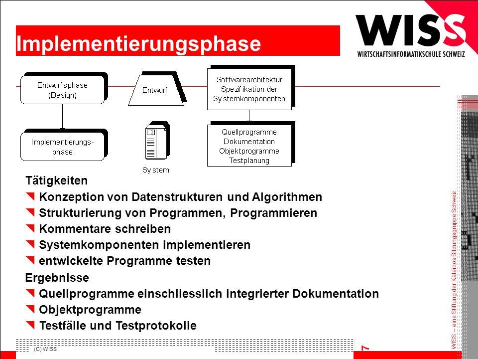 WISS – eine Stiftung der Kalaidos Bildungsgruppe Schweiz (C) WISS 7 Implementierungsphase Tätigkeiten Konzeption von Datenstrukturen und Algorithmen S