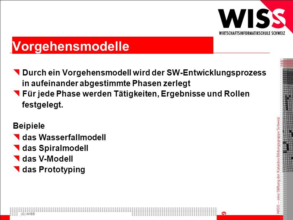 WISS – eine Stiftung der Kalaidos Bildungsgruppe Schweiz (C) WISS 9 Durch ein Vorgehensmodell wird der SW-Entwicklungsprozess in aufeinander abgestimm