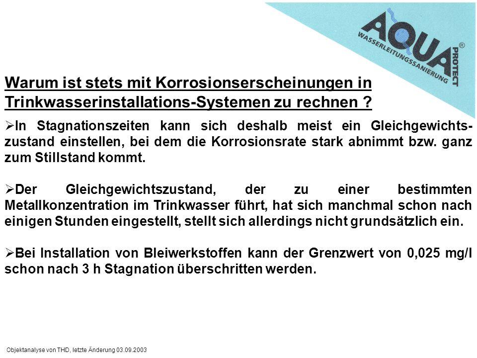 Objektanalyse von THD, letzte Änderung 03.09.2003 Warum ist stets mit Korrosionserscheinungen in Trinkwasserinstallations-Systemen zu rechnen ? In Sta