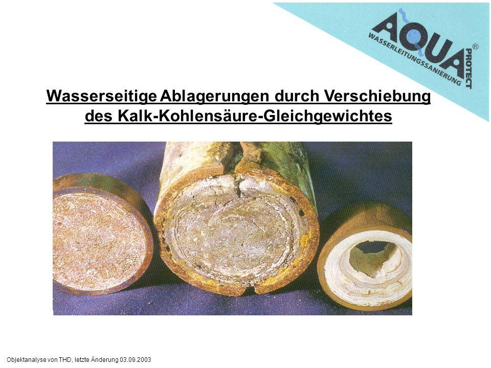Objektanalyse von THD, letzte Änderung 03.09.2003 Wasserseitige Ablagerungen durch Verschiebung des Kalk-Kohlensäure-Gleichgewichtes