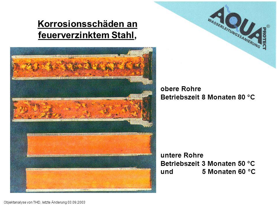 Objektanalyse von THD, letzte Änderung 03.09.2003 Korrosionsschäden an feuerverzinktem Stahl, obere Rohre Betriebszeit 8 Monaten 80 °C untere Rohre Be