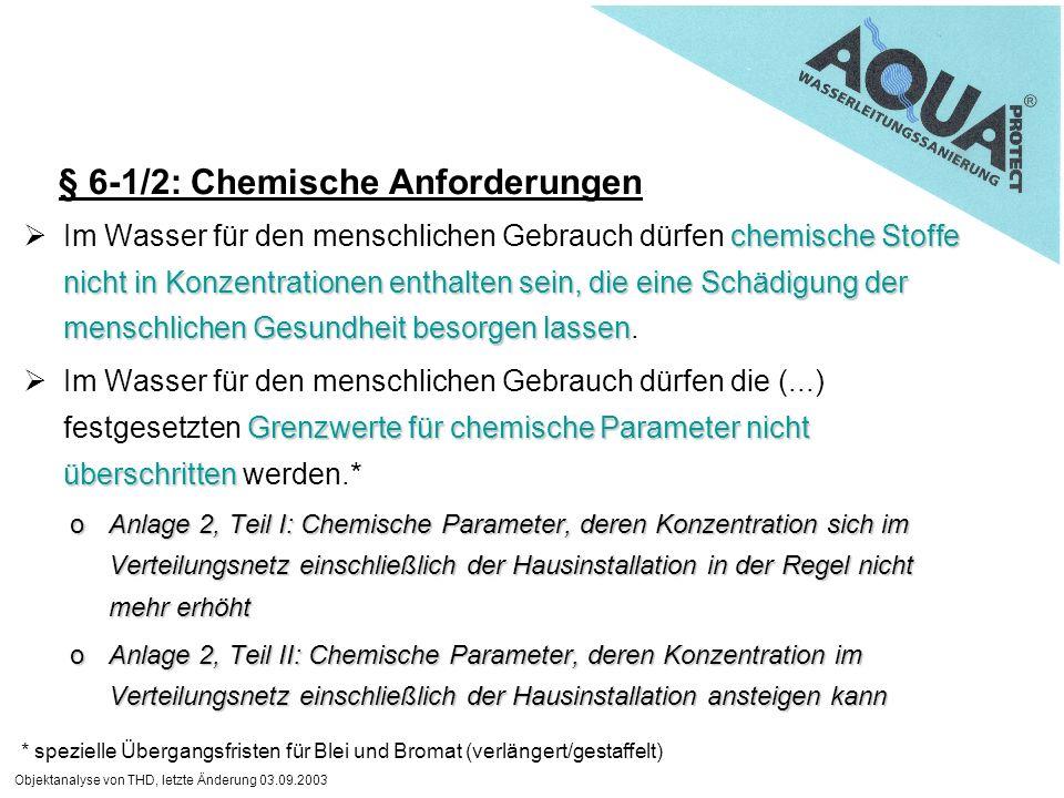 Objektanalyse von THD, letzte Änderung 03.09.2003 chemische Stoffe nicht in Konzentrationen enthalten sein, die eine Schädigung der menschlichen Gesun