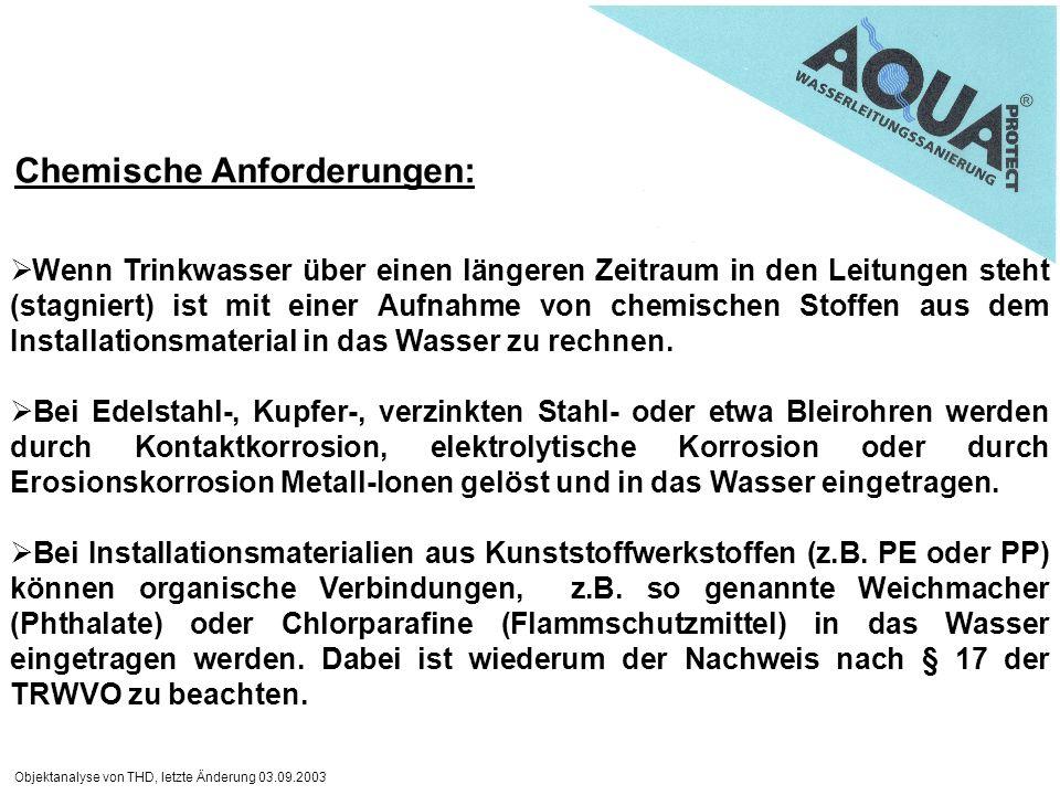 Objektanalyse von THD, letzte Änderung 03.09.2003 Wenn Trinkwasser über einen längeren Zeitraum in den Leitungen steht (stagniert) ist mit einer Aufna