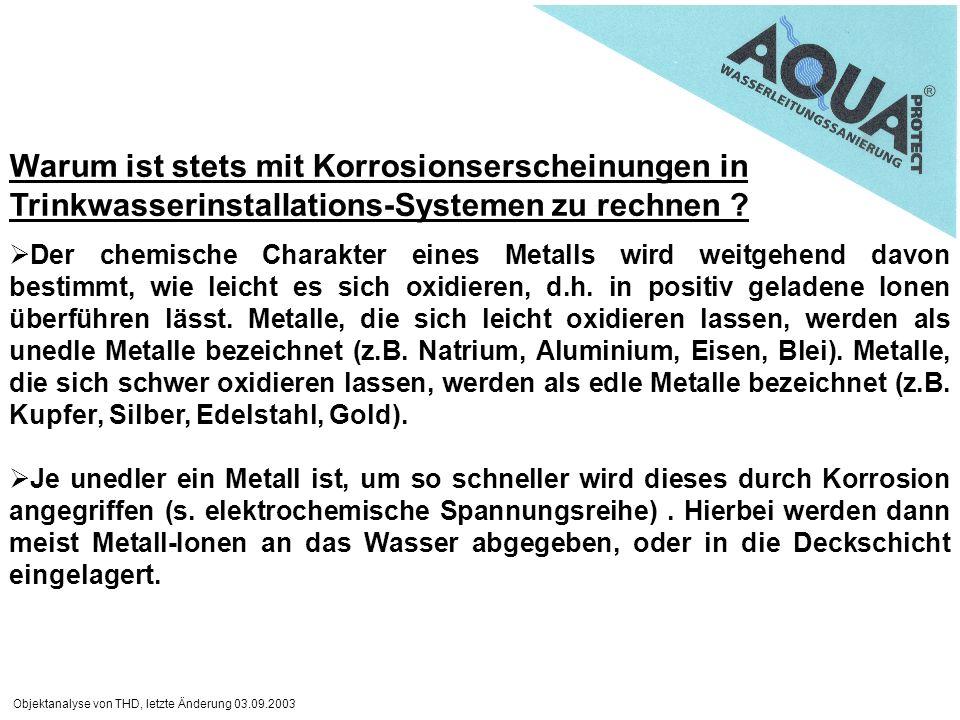Objektanalyse von THD, letzte Änderung 03.09.2003 Warum ist stets mit Korrosionserscheinungen in Trinkwasserinstallations-Systemen zu rechnen ? Der ch