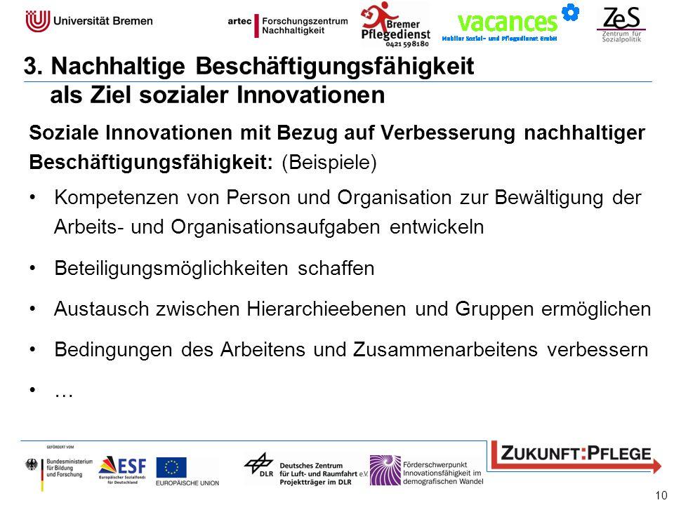 Soziale Innovationen mit Bezug auf Verbesserung nachhaltiger Beschäftigungsfähigkeit: (Beispiele) Kompetenzen von Person und Organisation zur Bewältig