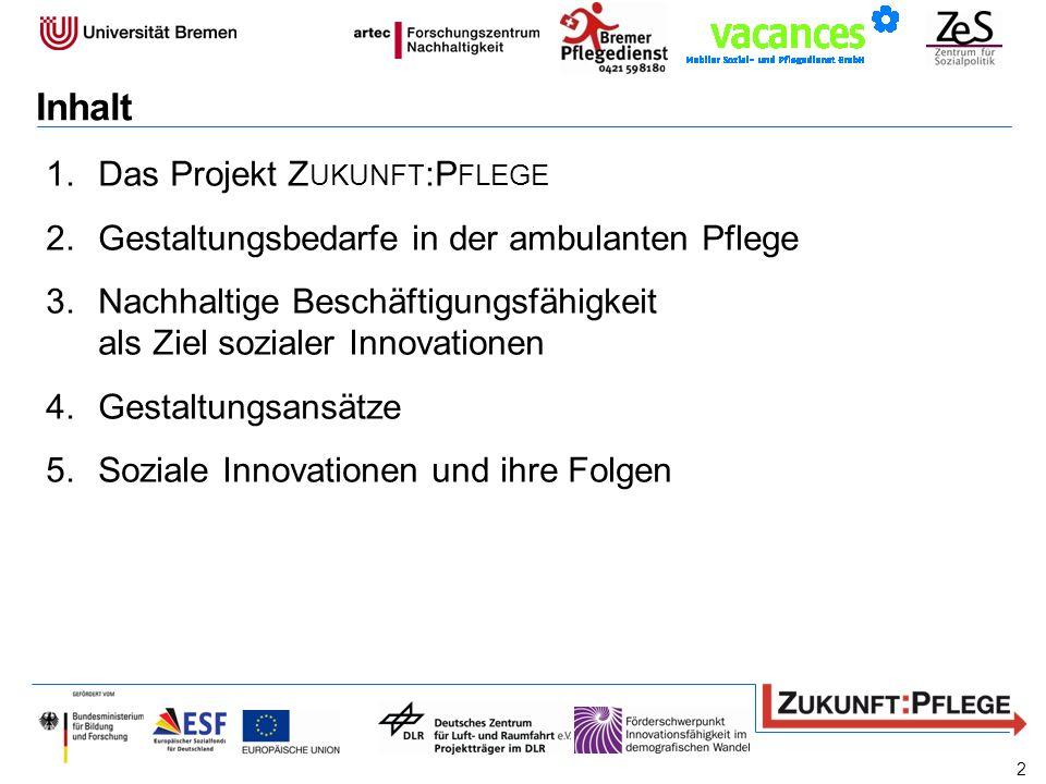Inhalt 1.Das Projekt Z UKUNFT :P FLEGE 2.Gestaltungsbedarfe in der ambulanten Pflege 3.Nachhaltige Beschäftigungsfähigkeit als Ziel sozialer Innovatio