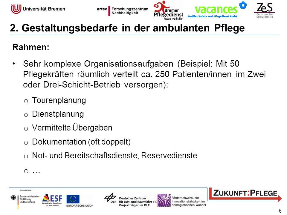 Rahmen: Sehr komplexe Organisationsaufgaben (Beispiel: Mit 50 Pflegekräften räumlich verteilt ca. 250 Patienten/innen im Zwei- oder Drei-Schicht-Betri