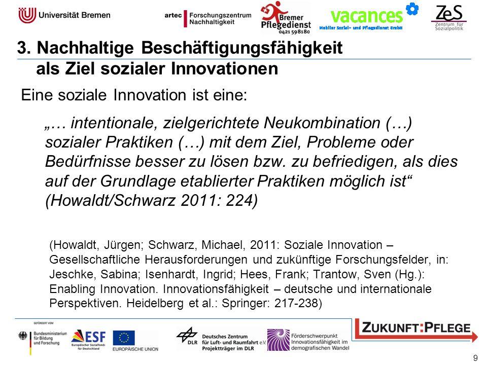 Eine soziale Innovation ist eine: … intentionale, zielgerichtete Neukombination (…) sozialer Praktiken (…) mit dem Ziel, Probleme oder Bedürfnisse bes