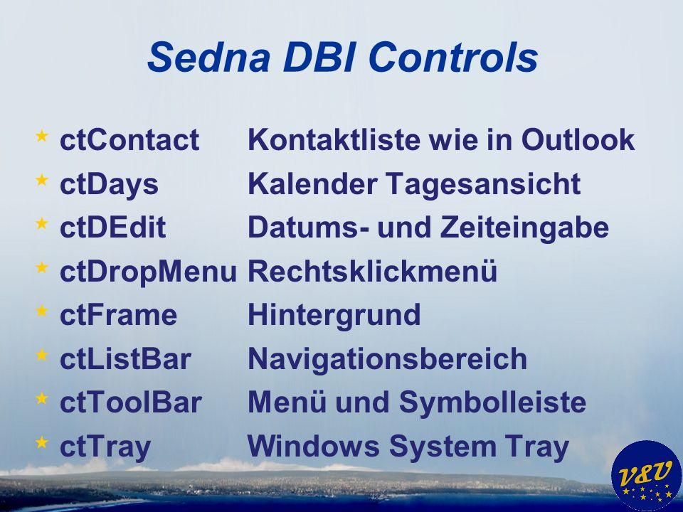 Sedna DBI Controls * ctContact Kontaktliste wie in Outlook * ctDays Kalender Tagesansicht * ctDEdit Datums- und Zeiteingabe * ctDropMenu Rechtsklickmenü * ctFrame Hintergrund * ctListBar Navigationsbereich * ctToolBar Menü und Symbolleiste * ctTray Windows System Tray