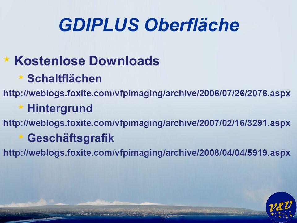 GDIPLUS Oberfläche * Kostenlose Downloads * Schaltflächen http://weblogs.foxite.com/vfpimaging/archive/2006/07/26/2076.aspx * Hintergrund http://weblogs.foxite.com/vfpimaging/archive/2007/02/16/3291.aspx * Geschäftsgrafik http://weblogs.foxite.com/vfpimaging/archive/2008/04/04/5919.aspx