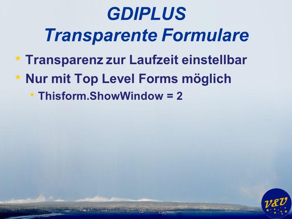 GDIPLUS Transparente Formulare * Transparenz zur Laufzeit einstellbar * Nur mit Top Level Forms möglich * Thisform.ShowWindow = 2
