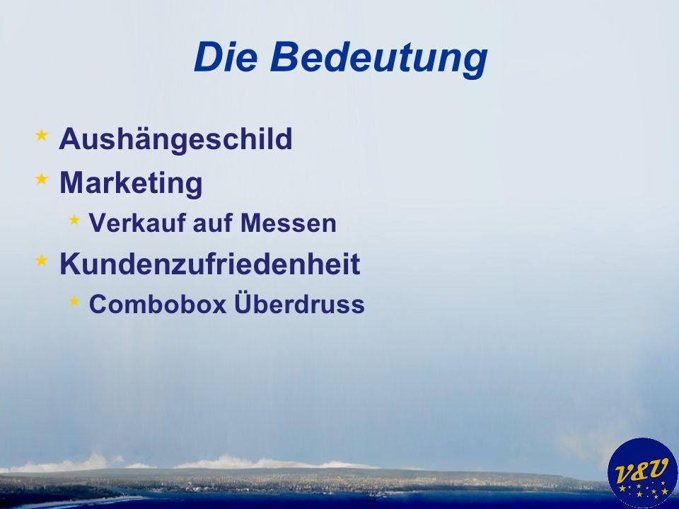 Die Bedeutung * Aushängeschild * Marketing * Verkauf auf Messen * Kundenzufriedenheit * Combobox Überdruss