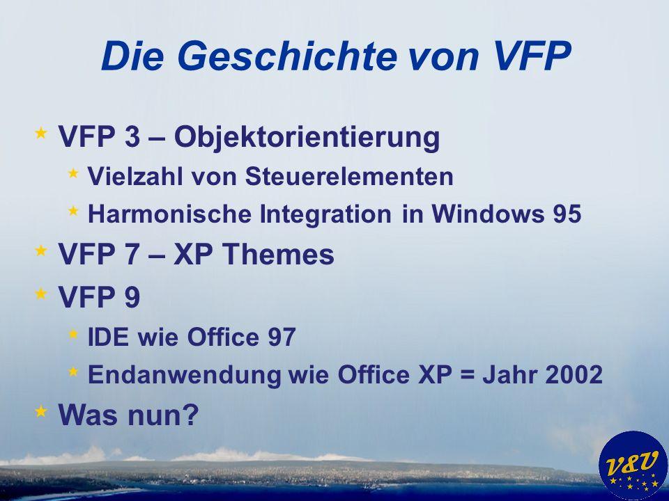 Die Geschichte von VFP * VFP 3 – Objektorientierung * Vielzahl von Steuerelementen * Harmonische Integration in Windows 95 * VFP 7 – XP Themes * VFP 9 * IDE wie Office 97 * Endanwendung wie Office XP = Jahr 2002 * Was nun?