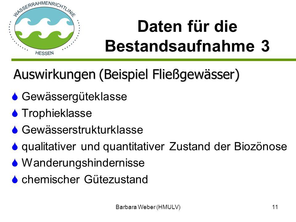 Barbara Weber (HMULV)11 Gewässergüteklasse Trophieklasse Gewässerstrukturklasse qualitativer und quantitativer Zustand der Biozönose Wanderungshindern