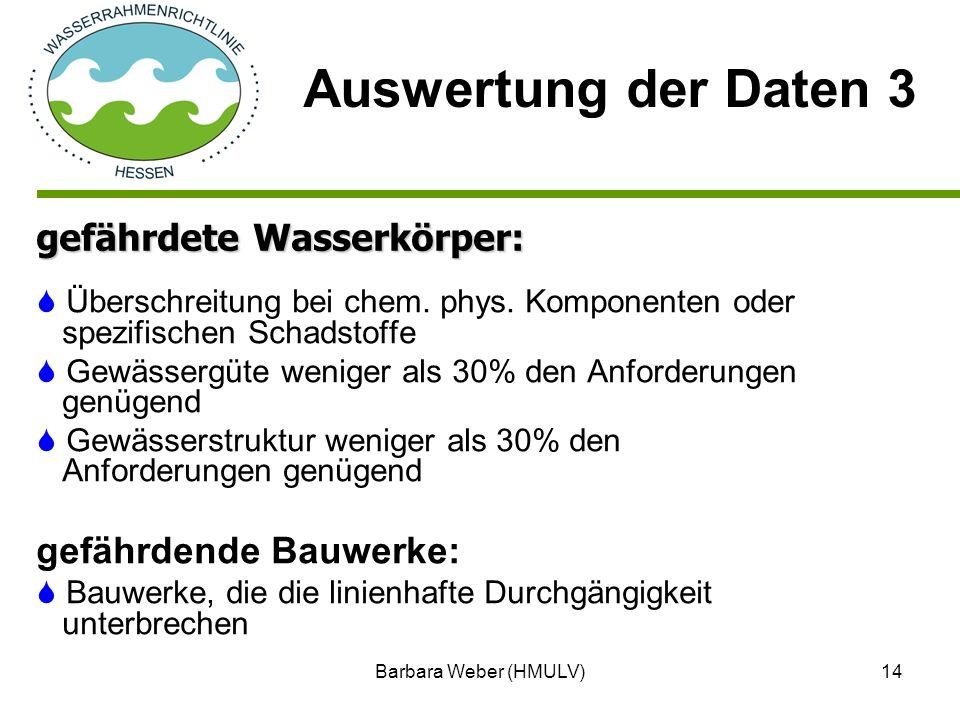 Barbara Weber (HMULV)14 Überschreitung bei chem. phys. Komponenten oder spezifischen Schadstoffe Gewässergüte weniger als 30% den Anforderungen genüge